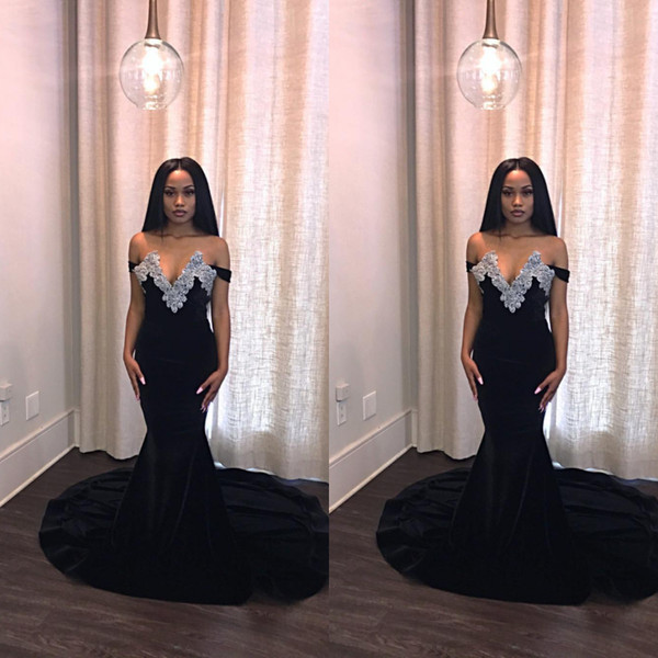 2018 Black Off Shoulders Prom Dresses Mermaid Sweetheart Beaded Appliques  Formal Evening Gowns For Women Fashion Nova Engagement Prom Dress Cheap  Blue