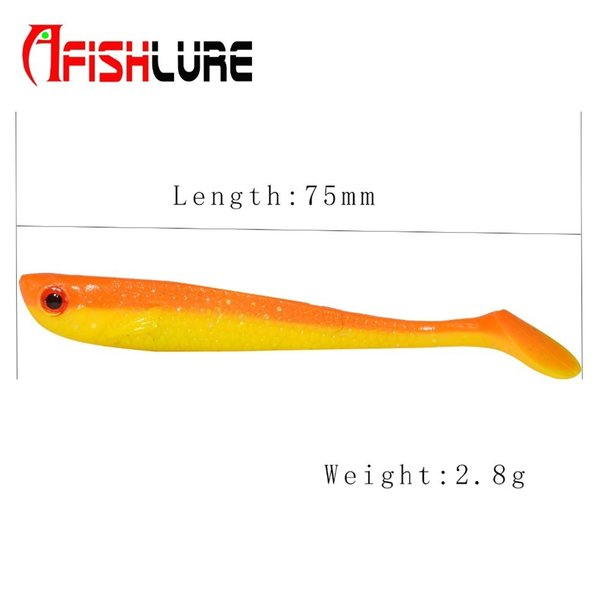 Paddle 75mm2.8g Shads Soft Lures Silicone Bass Minnow Bait Swimbaits Plastic Lure Pasca Grub Fish