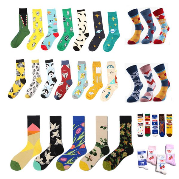Man Women Mid socks oil painting colorful sport outdoor Print European Fund Funny Happy Cotton sliding plate Motion Socks LJJA3086