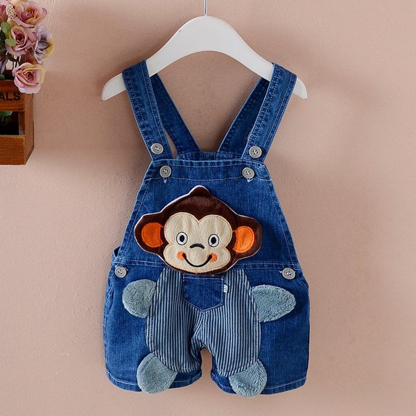 good quality baby boys bib pants for summer clothing casual cotton cartoon overalls for babys new born denim pants