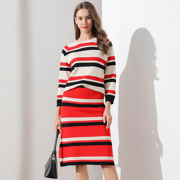 Conjuntos de punto para mujer Suéter de rayas de otoño e invierno 2019 Conjuntos de dos piezas Conjuntos para mujer Ropa de abrigo informal elegante