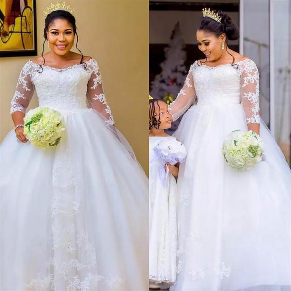 Элегантный белый бальное платье с длинным рукавом Свадебные платья кружева Sexy совок Свадебные платья Аппликации Кружева Тюль Свадебные платья плюс размер