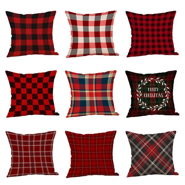 30 Stili Decorazioni di Natale Federa Plaid Elk Bear Ptinted Throw Pillow Covers Xams Divano Cuscino Casa Partito Federa C5686