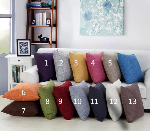 top popular 100pcs Solid Color Burlap Pillow case plain Covers cushion cover Shams Linen Square Throw Pillowcases Cushion Covers for Bench Couch Sofa 2019