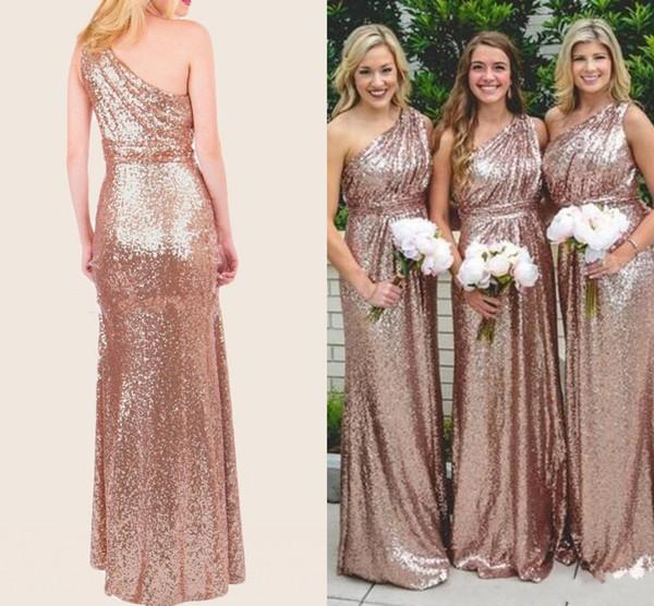 Nova bling rosa de ouro champagne lantejoulas vestidos de dama de honra de um ombro lantejoulas longo até o chão de dama de honor formal do casamento convidado vestidos