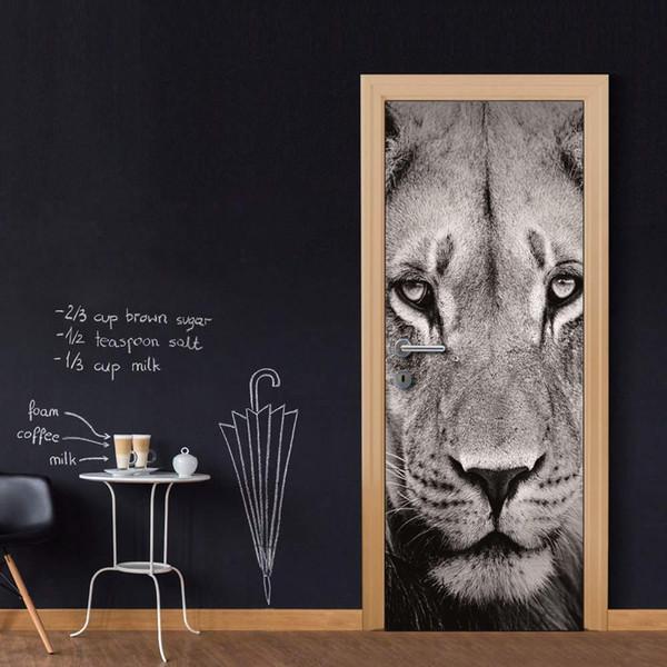 Wholesales DIY Door Sticker Black White Lion Head Door Decal for Bedroom Living Room wallpapers Decal home accessories