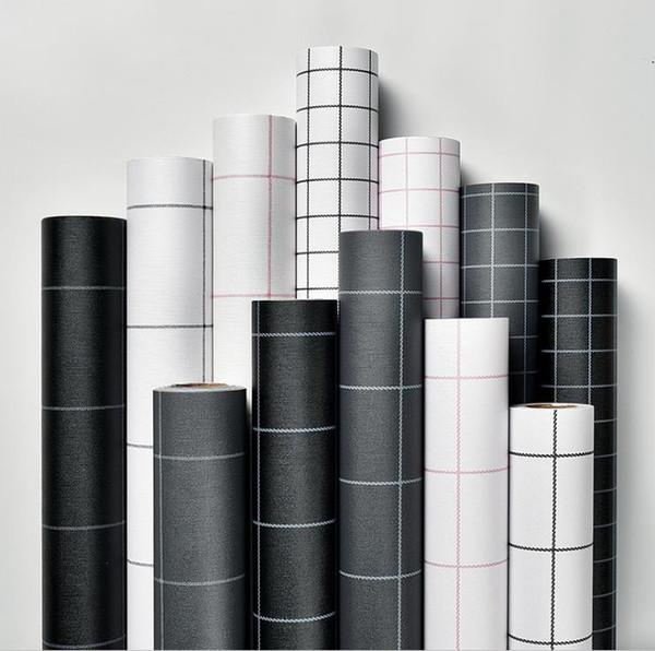 Duvar kağıdı kendinden yapışkanlı kare ızgara siyah ve beyaz basit PVC su geçirmez duvar sticker yatak odası oturma odası duvar tadilat duvar kağıdı 60 cm