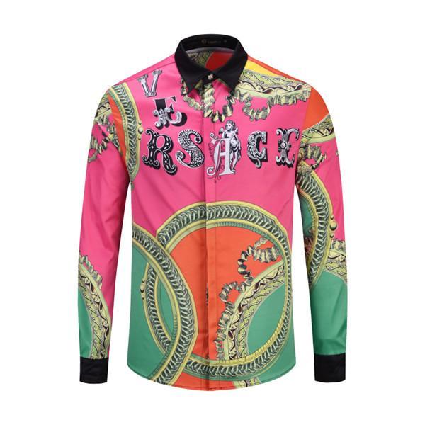 new Hot Autumn winter Harajuku Medusa shirt gold chain Dog Rose print shirts Fashion Retro floral Men long sleeve tops shirts