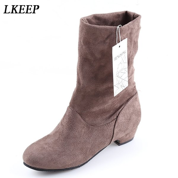 2018 Autumn Winter Women Boots Mid-Calf Martin Boots Brand Fashion Female Stretch Cotton Fabric Slip-on Boots Flat Shoes Woman
