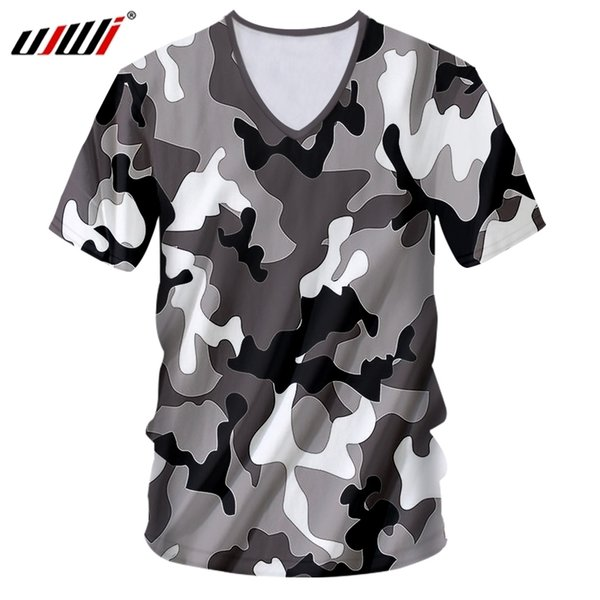 Ujwi V Neck Shirt Men New Deep Slim Fit Black And White 3d Tshirt Print Jungle Camouflage Funny Large Size Costume Male T Shirts C19041001
