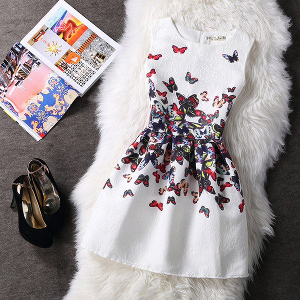 Women summer Prom Party Dresses tutu A-line Casual Floral Print casual Dress Ladies Fashion Printing Sleeveless Vintage Evening Dress New