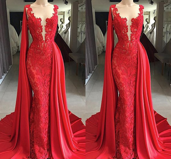 Bright Red 2019 Lace Evening Dresses with Watteau Train Applique Sheer Neck Evening Gowns Dresses Evening Wear special occasion dress