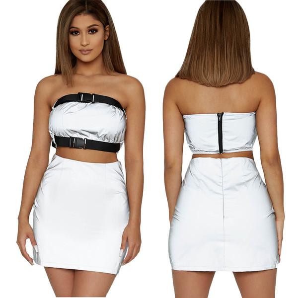 Bayan Tasarımcı Iki Parçalı Elbise Lüks Katı Renk Yansıtıcı Malzeme Tüp Üst + etekler Moda Parti 2019 Yaz Yeni Boyutu S-2XL Giymek