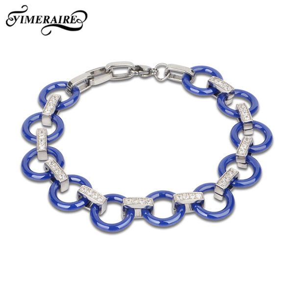 circle blue ceramic bracelet for women elegant style crystal fashion jewelry bangle wedding gift silver metal jewelry