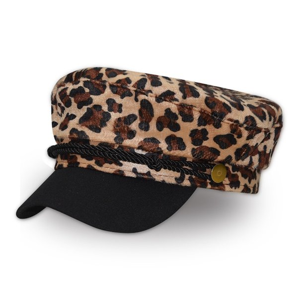 Nuevas gorras de vendedor de periódicos con estampado de leopardo gorras de visera planas de color sólido para mujer retro