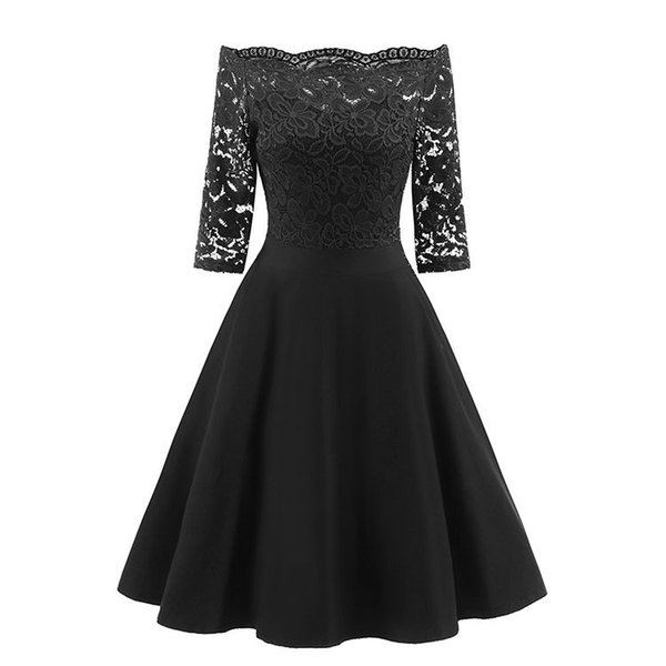Navy Blue Lace Skater Dresses Three Quarter Sleeves Knee Length Off Shoulder Short Women Dresses for Prom Party Holiday Cocktail