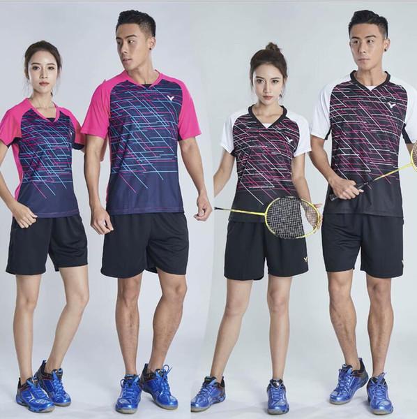 top popular New Victor short-sleeved badminton wear T-shirt men and women South Korea team Wick multi-badminton clothes quick-dry tennis T-shirt shorts 2020