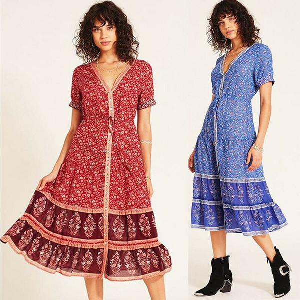 Femmes Boho Floral Long Maxi Dress Soirée robes de plage Robe d'été Casual Robe d'été