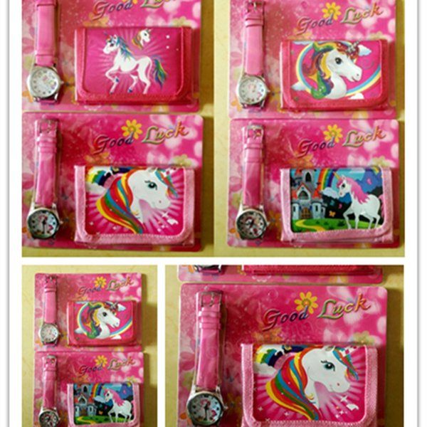 Unicorn Purses + Watch Set Girls Wallet Fold Pocket Bags Pink Rose Cartoon Stationery Storage Organizer Bag Kids Purse