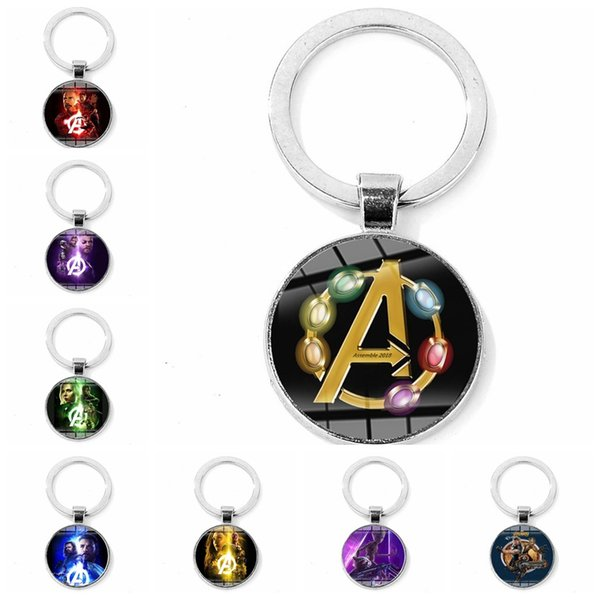 12pcs/lots Keychain Avengers 3 Infinite war Glass Charms Pendants Key Ring Travel Protection DIY Accessories