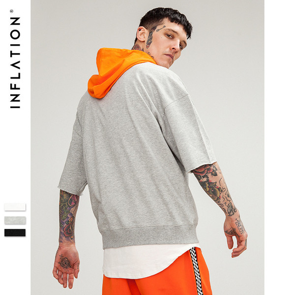 Wear |2018 Spring New Summer Money Street Oversize Color Collision Easy Shoulder Drop Even Cap Male Style Short Sleeve T T-shirt C19033001