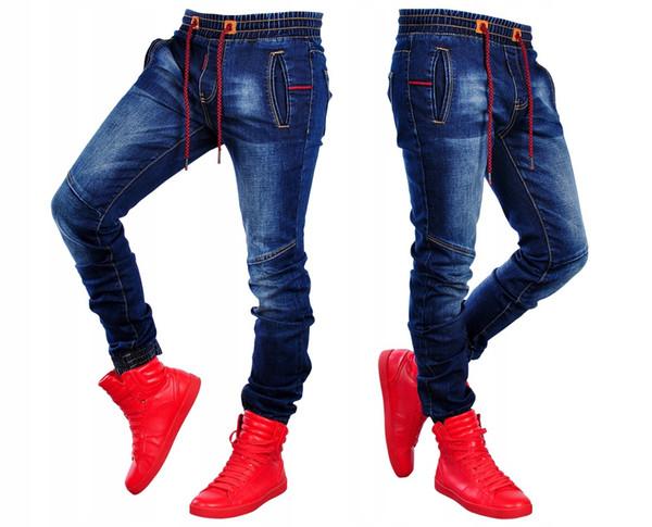 Elastic Waist Jeans Male Clothing Spring Jogger Pants Stretch Designer Washed Denim Blue Pants
