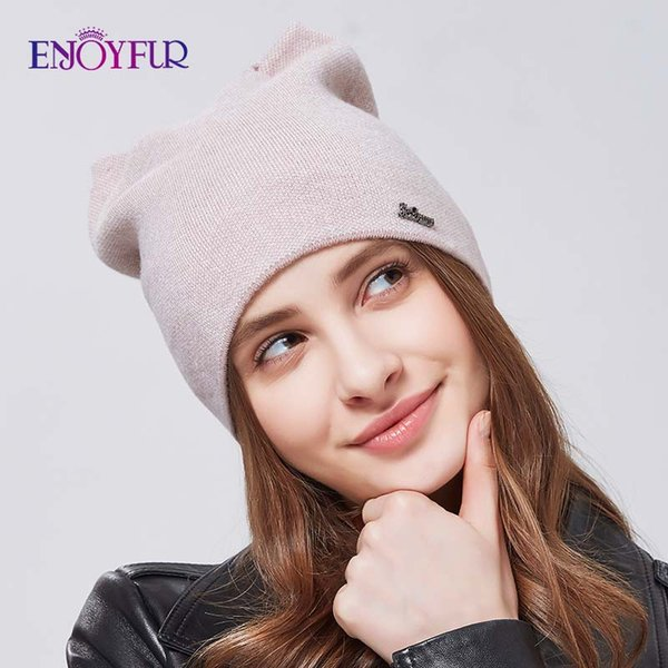 ENJOYFUR Spring hat for women knitted wool beanies hat cat ear stylish cap new fashion lovely