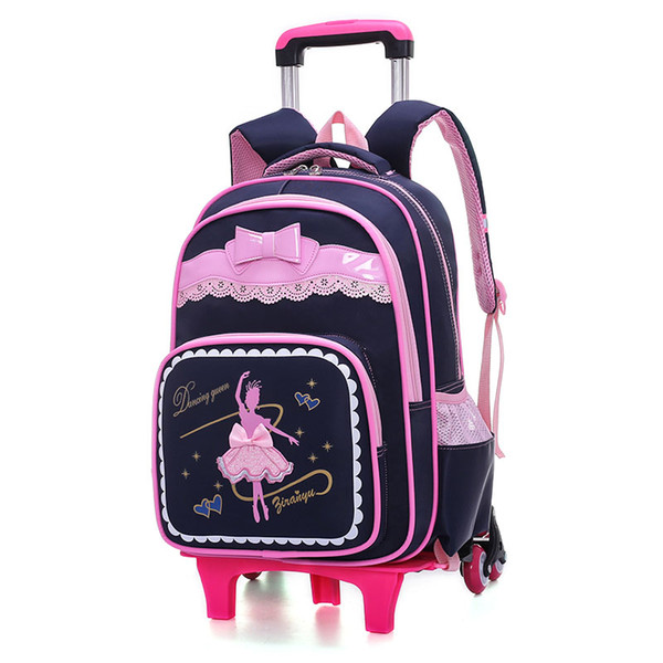2019 Top quality students high quality Luxury backpacks girl bow-tie lace laptop Famous primary school fashion trolley books bag Bags 3085