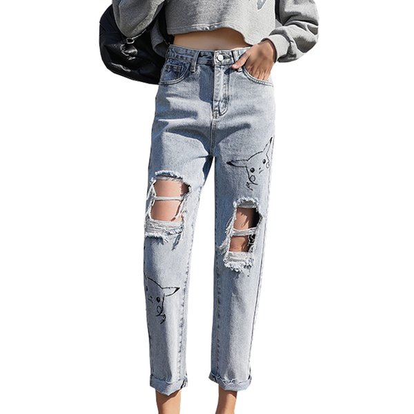 Summer Jeans Women 2019 New Vintage Hole Denim Straight Pants Loose Harajuku Cute Cartoon Bordado Jeans Mujer # 8012