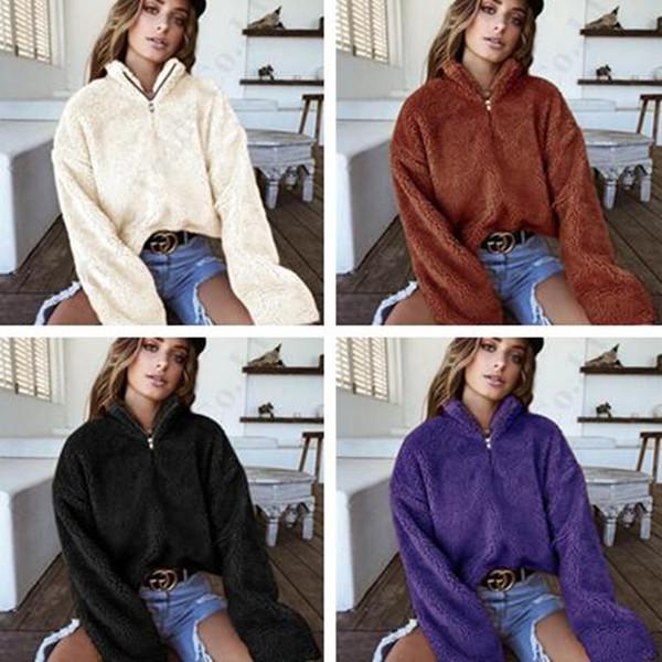 Mulheres Sherpa Pullovers Moletom Outono Inverno Manga Comprida Velo Moletom Com Capuz Com Zíper Gola Alta Blusas de Pelúcia Gargantilha Berber Tops de Pele C91108