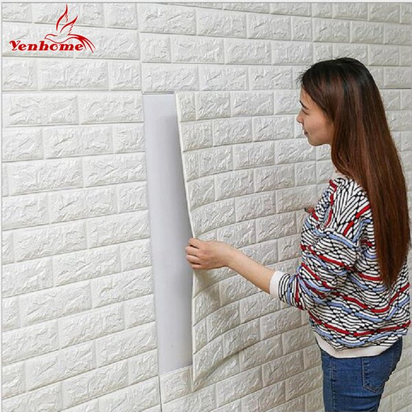 DIY Selbst Adhensive 3D Wandaufkleber Wohnzimmer Dekor Schaum Wasserdichte Wandverkleidung Tapete Für TV Hintergrund Kinderzimmer D19011702
