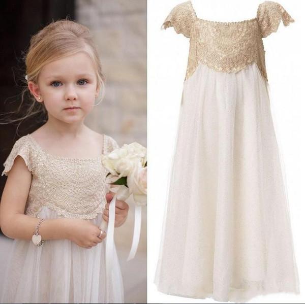Düğün Ayak bileği uzunluğu kap Kol İmparatorluğu Champagne Dantel Fildişi şifon Kızlar ilk komünyonu Giydirme için Vintage Çiçek Kız Elbise