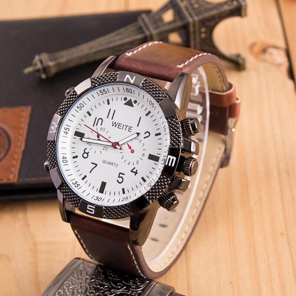 Nouveaux hommes de montre de haute qualité bracelet en cuir bracelet montres à quartz d'affaires occasionnels regarder la vente