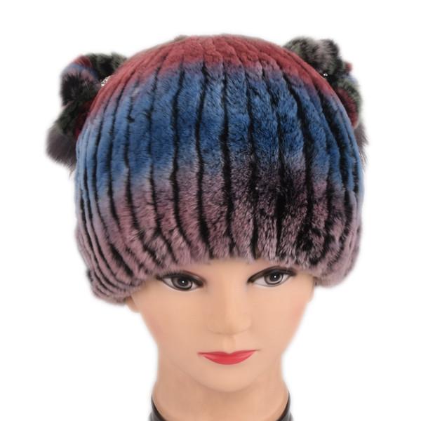 Nuevo invierno mujeres niñas niños lindos dulces encantadores reales reales de piel de conejo rex sombrero de orejas de gato cálido sombrero Skullies Gorros gorra