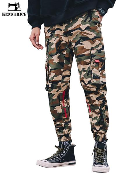 KENNTRICE Moda Streetwear Carga Calças Dos Homens Calças Basculador Homens Bolsos Laterais Camuflagem E Calças Pretas Táticas