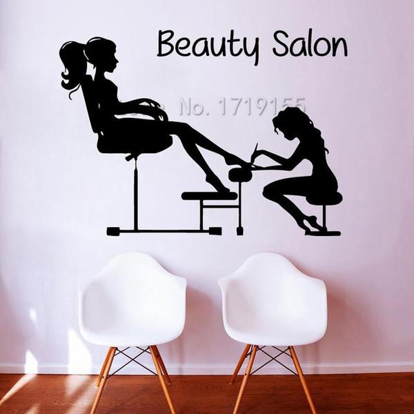 Pédicure Stickers Muraux fille Nails Manucure Cosmétiques Decal femmes Salon de beauté Décor décalque de vinyle Accueil Interior Design Bricolage
