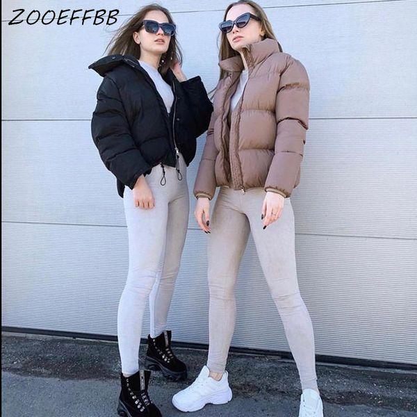 ZOOEFFBB Short Winter Jacket Women Parka Mujer Fashion Warm Clothing Bubble Coat Standard Collar Oversized Cotton Puffer Jacket