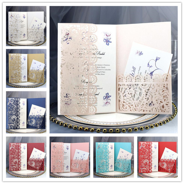 best selling Personalized Wedding Invitation Cards Full Set Laser Cut Hollowed-out Pocket Greeting Cards For Engagement Birthday Party Wedding Supplies