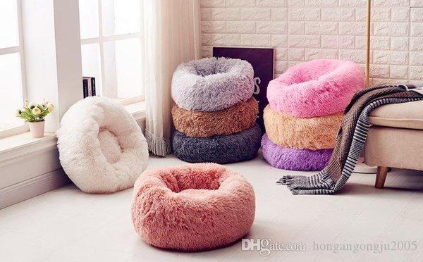 Nuovo Kennel rotonda peluche nido pet forniture case cane lana perla lettiera per animali domestici 8 colori 8 formati per la scelta canile stuoie per animali domestici