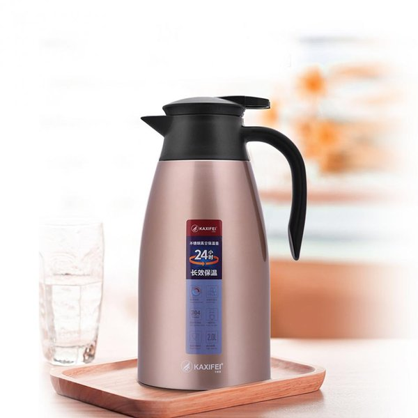 KAXIFEI 2L Stainless Steel Thermal Flask Jug Home Coffee Pot Vacuum Insulation Water Bottle