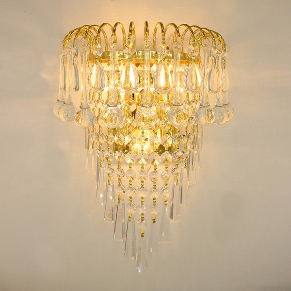 new concept bd3d9 528f2 2019 Classic Crystal Chandelier Wall Light Gold Crystalline Wall Sconce  Lamp LED Foyer Living Room Bedside Glass Crystal Wall Lamp From  Wuzhangtsai, ...