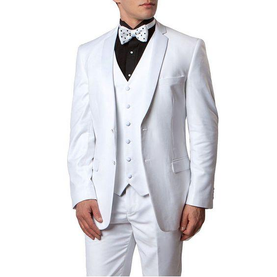 Classy White Wedding Tuxedos Groom Suits Custom Made Groomsmen Prom Party Suits (Jacket+Pants+Vest) Groom Father Suits Tailor Made B239