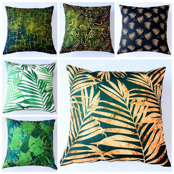 green summer decoration leaf cushion cover gold print sofa lounge throw pillow case nordic funda cojin decorative cojines