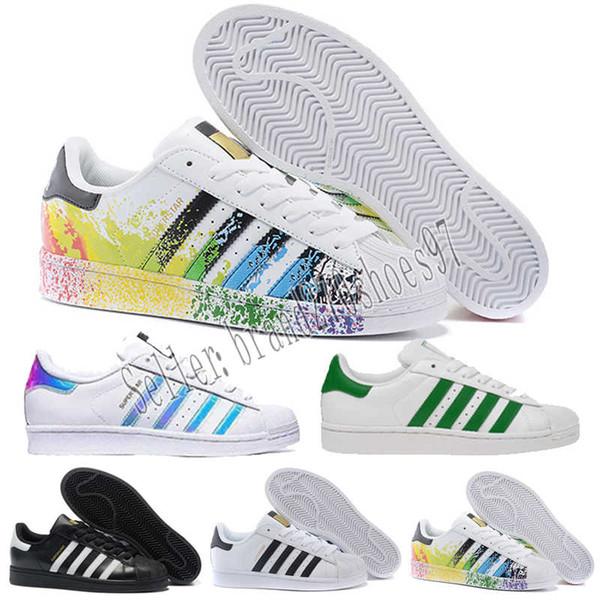 Großhandel Designer Shoes Adidas Men Women Eue Günstige Superstar 80 S Männer Frauen Freizeitschuhe Skate Schuhe 23 Farbe Regenbogen Spritz Tinte Mode