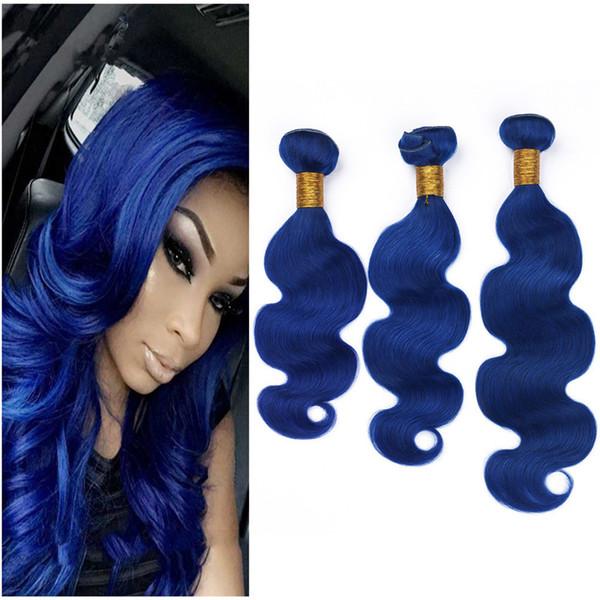 Blaue Menschenhaarverlängerungen 3 Bundles Angebote Körperwelle Blau Spinnt Reines Peruanisches Haar Schuss Körper Welliges Haar Bundles Zum Verkauf