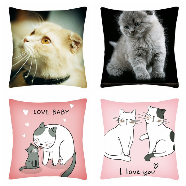4Pcs/set 45x45cm Cute Cat Cartoon Print Square Pillow Case Polyester Fiber Cushion Sofa Cushion Cover Home Decoration L615