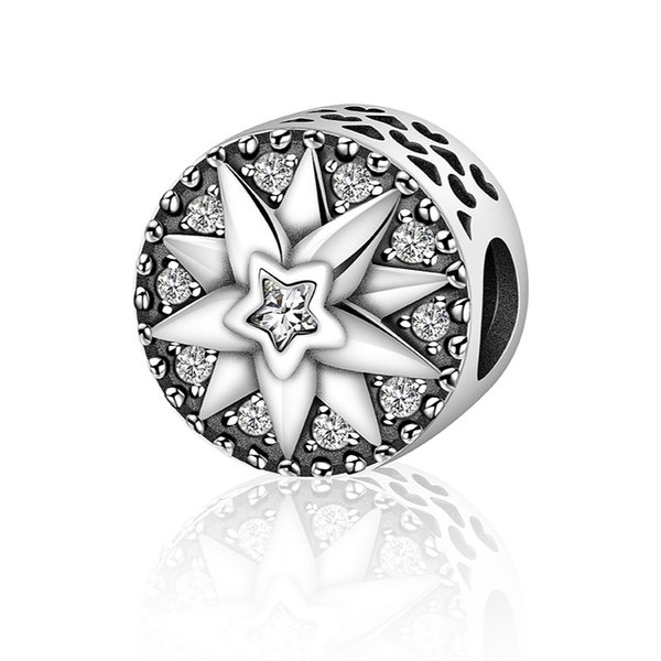 2019 NEW High Quality 925 Sterling Silver Sun Freeze Element Sparkling CZ Beads fit Charm Bracelets for Women DIY Jewelry SCC212