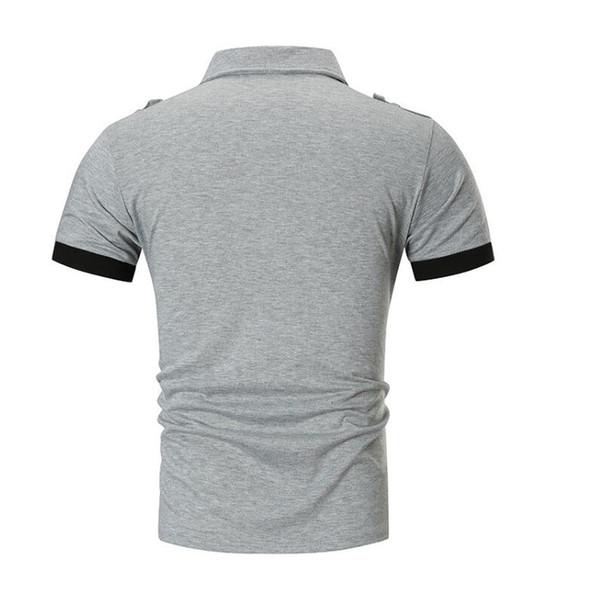 Moda Polo Gömlek Erkekler 2019 Yaz Marka Adam Polo Gömlek Iş Rahat Pamuklu Gömlek Gri Siyah M-XXL