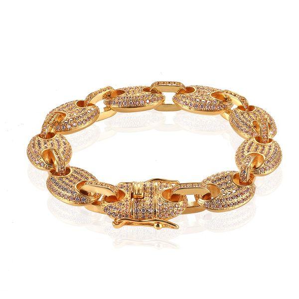 USENSET Hot Sale Iced Out Bling CZ Coffee beans Men Bracelet Fashion Pig Nose Cuban Link Bracelets male Hip Hop Jewelry Gifts 12M