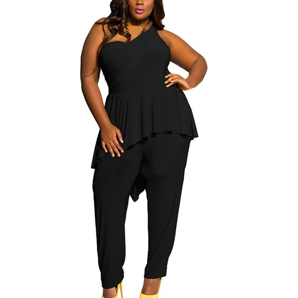 One Shoulder Jumpsuits Schwarz Damen Sommer Plus Size Strampler Lang Damen Streetwear Dentelle Overalls Jumpsuit Back Zipper Neu